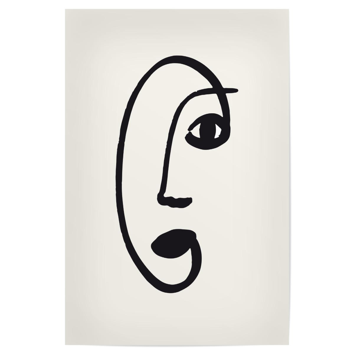 Line Art Face 20x20 cm Poster