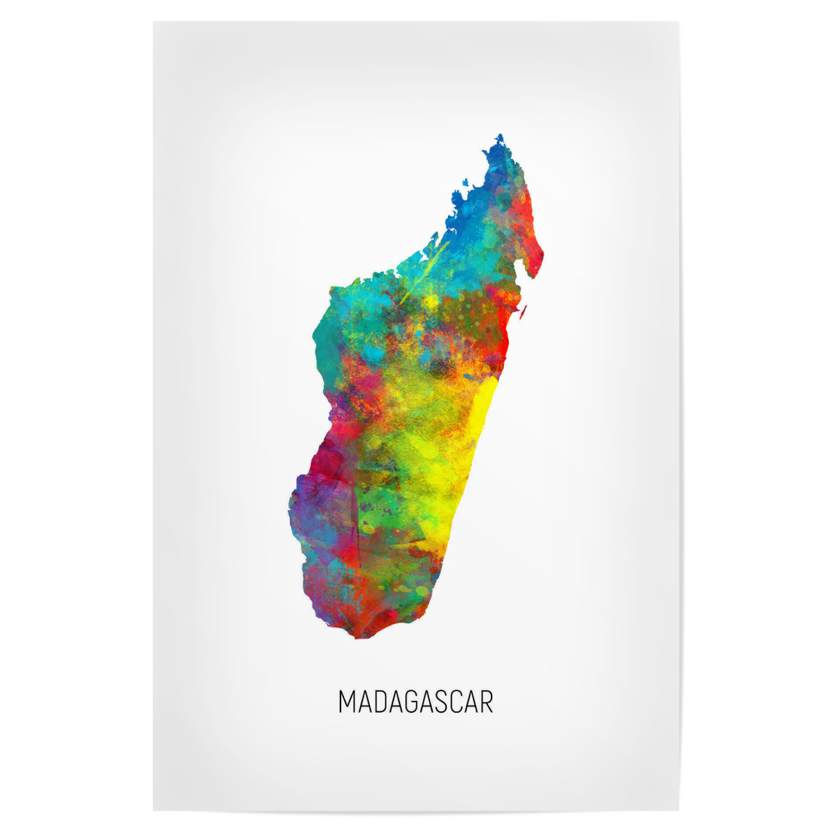 Madagascar Watercolor Map als Poster bei artboxONE kaufen