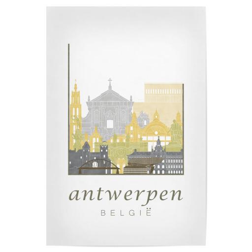 Antwerp Skyline In Watercolor Als Poster Bei Artboxone Kaufen