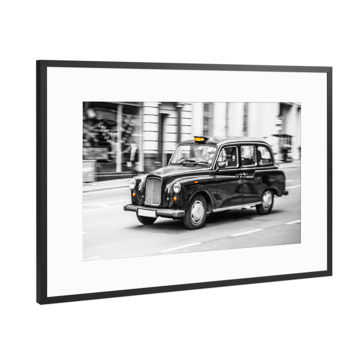 London Taxi Schwarzweiß als Gerahmt bei artboxONE kaufen