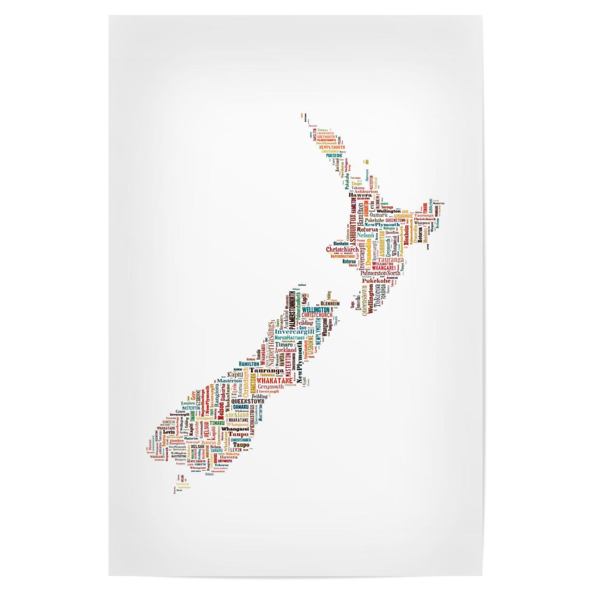 New Zealand Map Black als Poster bei artboxONE kaufen