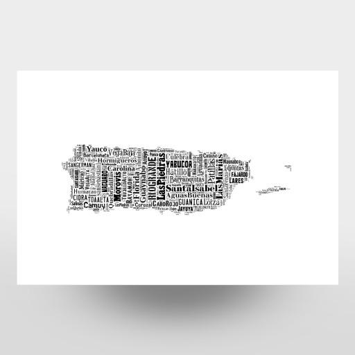 Puerto Rico Map Black als Leinwand bei artboxONE kaufen
