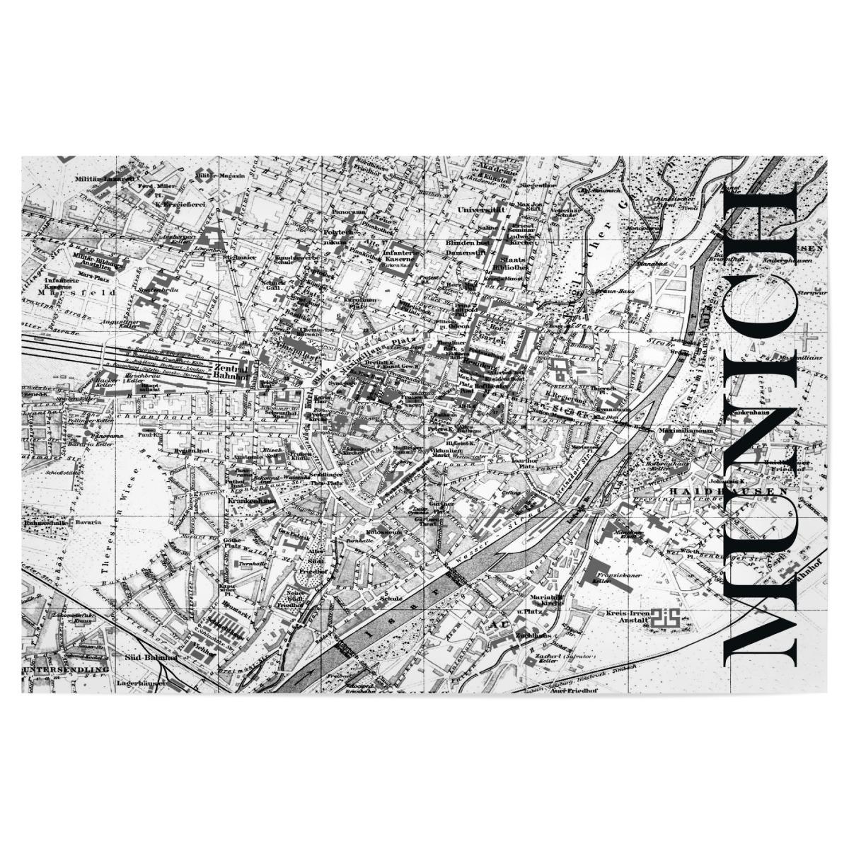 Retro Map Munich Black als Poster bei artboxONE kaufen