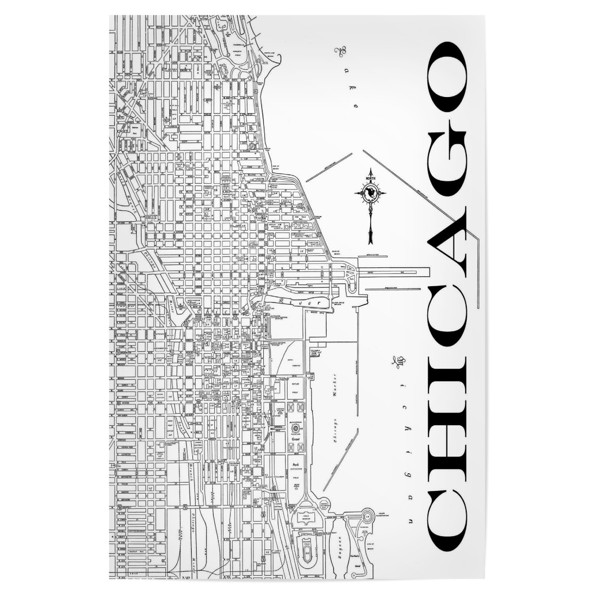 Retro Map Chicago Black als Poster bei artboxONE kaufen on