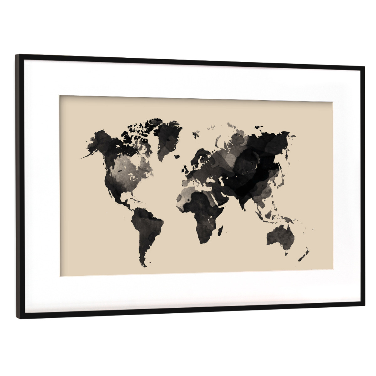 Purchase the World Map Beige as a Frame at artboxONE