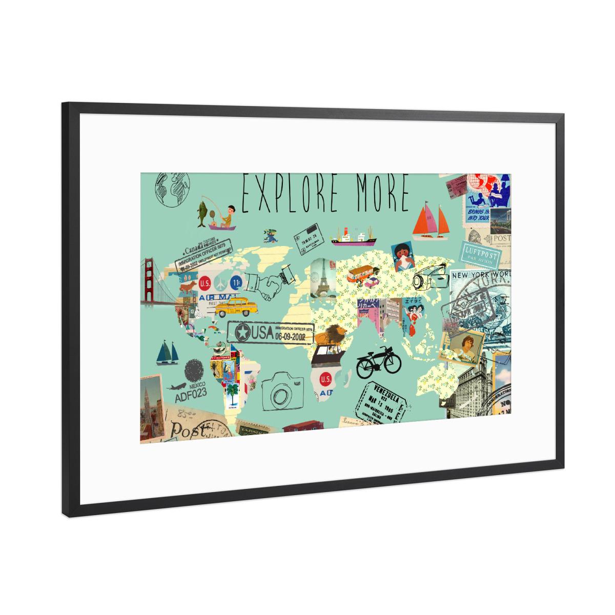 Weltkarte - Explore more als Gerahmt bei artboxONE kaufen