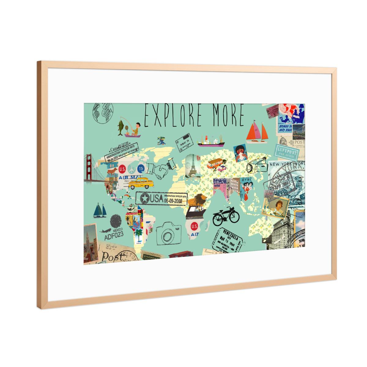 Weltkarte Explore More Als Gerahmt Bei Artboxone Kaufen