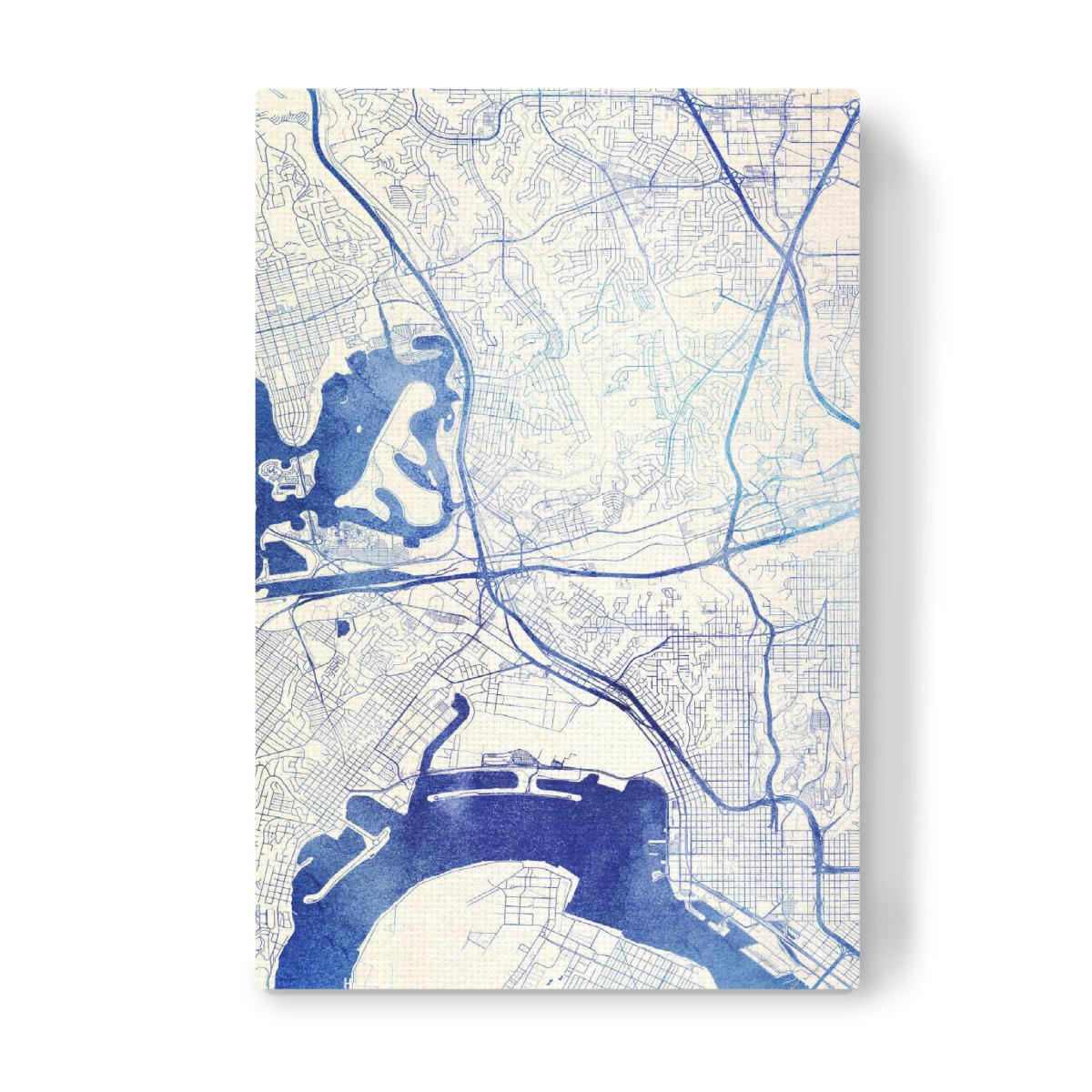 San-Diego USA Blue Infusion Map II als Leinwand bei ...
