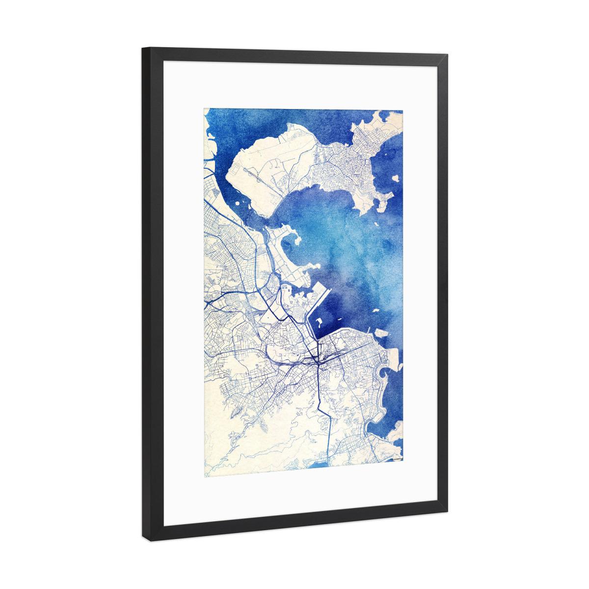 Rio-de-Janeiro Brasilien Blue Infusion Map II als Gerahmt bei ...
