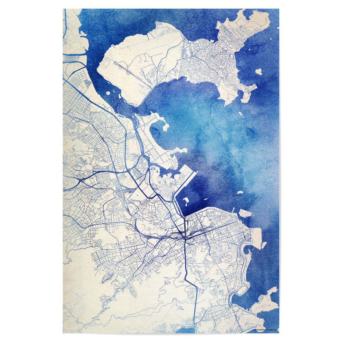 Rio-de-Janeiro Brasilien Blue Infusion Map II als Poster bei ...