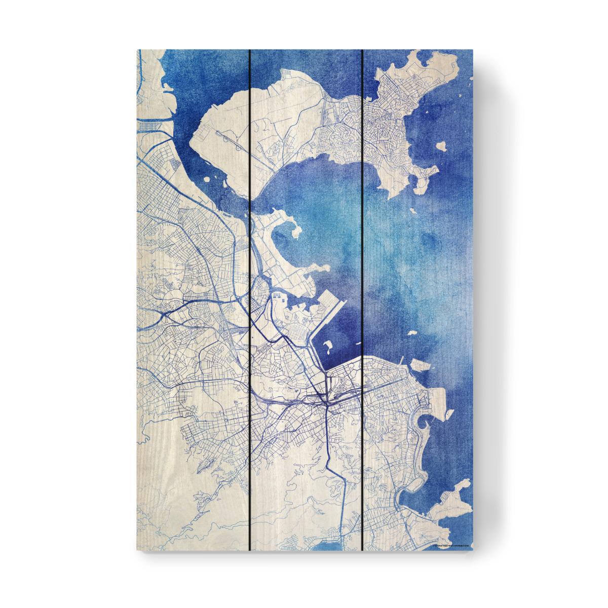 Rio-de-Janeiro Brasilien Blue Infusion Map II als Holzbild ...