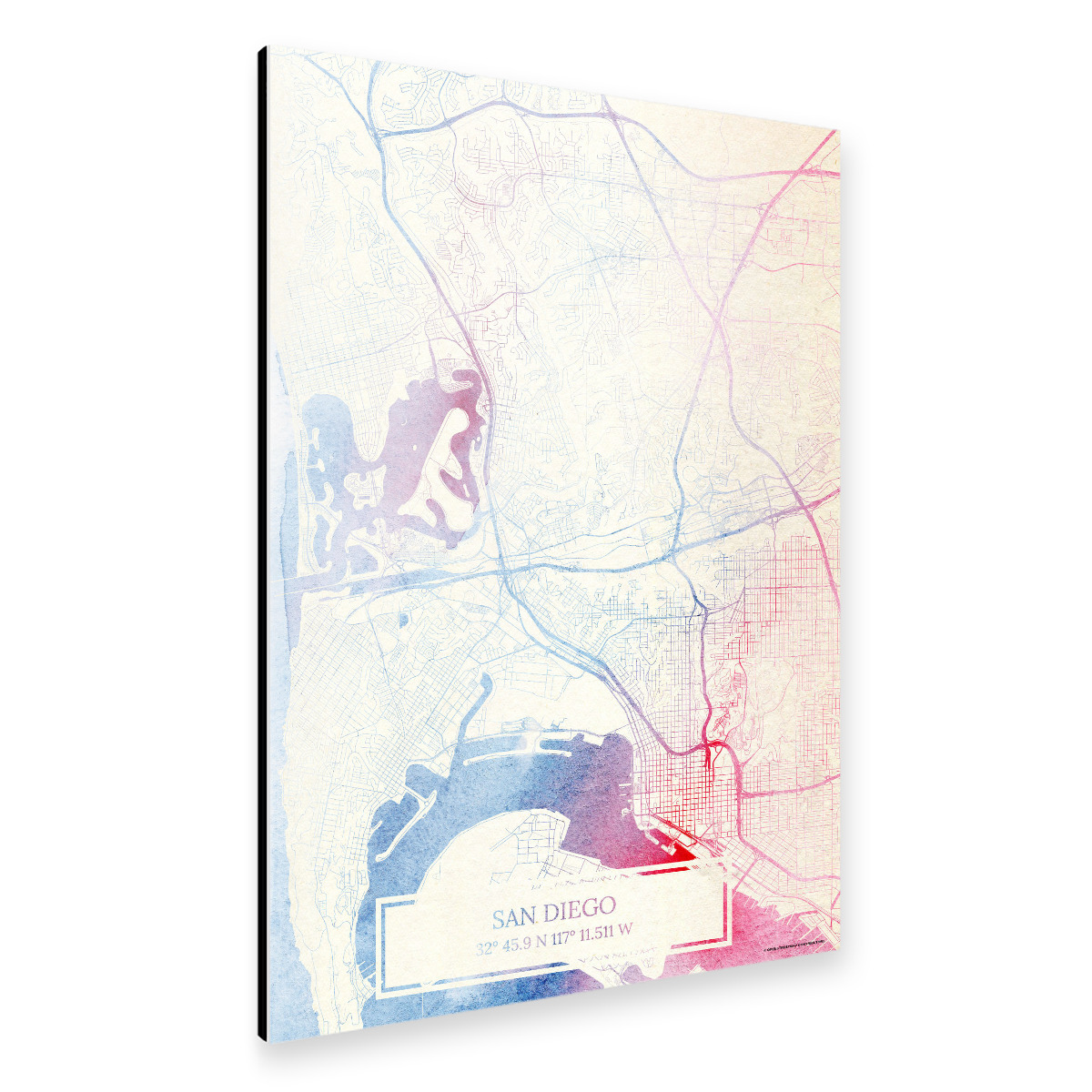 San-Diego USA Map Rose And Serenity II als Alu-Print bei ...