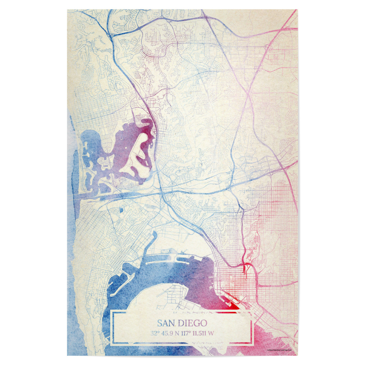 San-Diego USA Map Rose And Serenity II als Poster bei ...