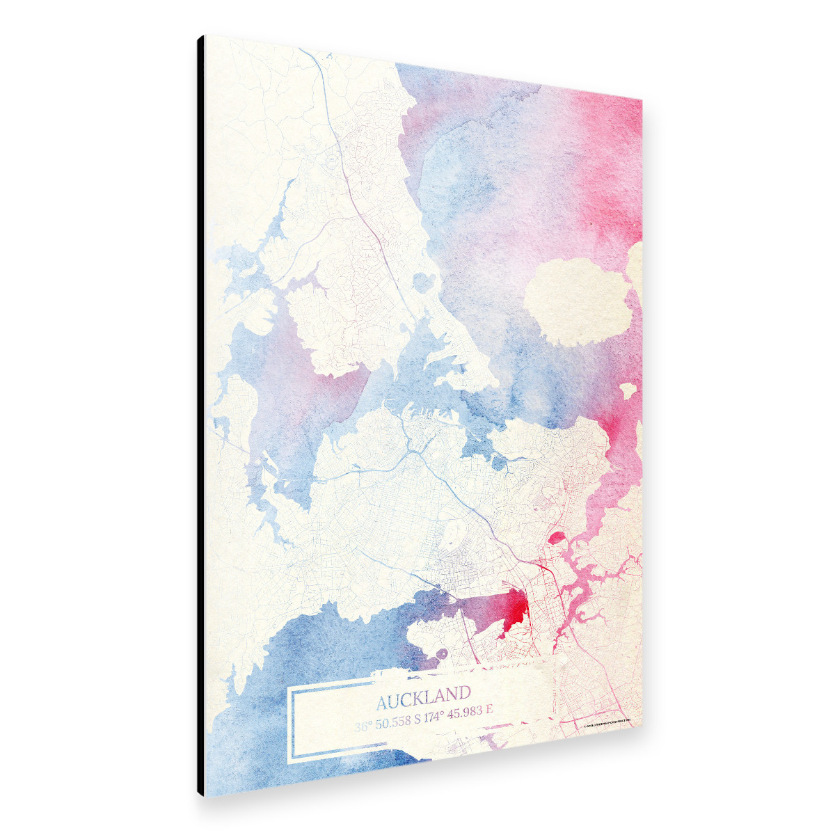 Auckland Neuseeland Map Rose And Serenity I als Alu-Print ...