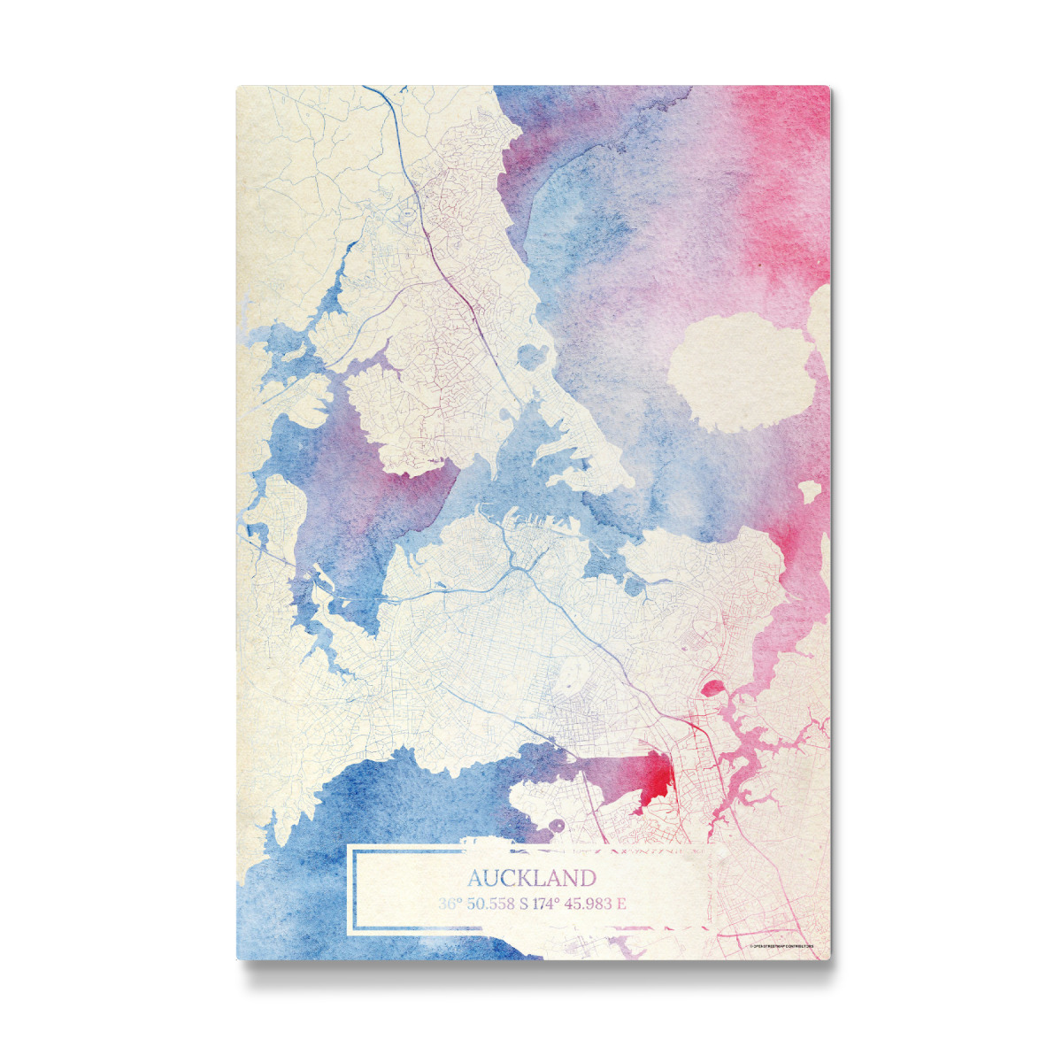 Auckland Neuseeland Map Rose And Serenity I als Galerie ...
