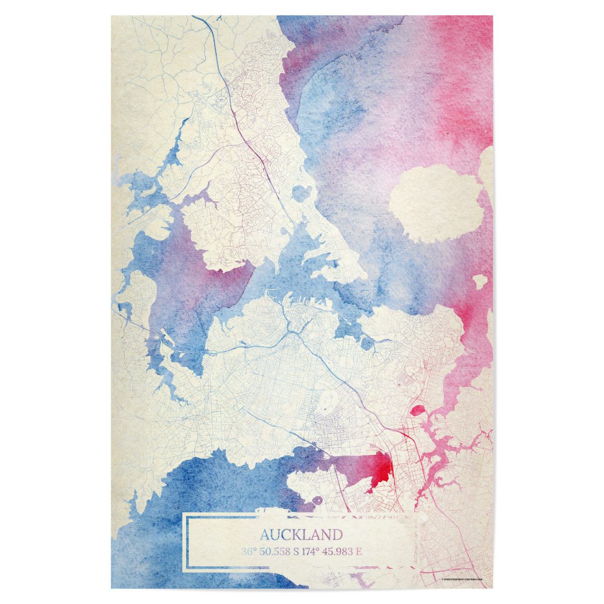 Auckland Neuseeland Map Rose And Serenity I als Poster bei ...
