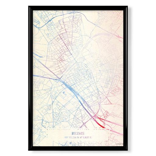 Reims Frankreich Map Rose And Serenity I als Poster bei artboxONE kaufen
