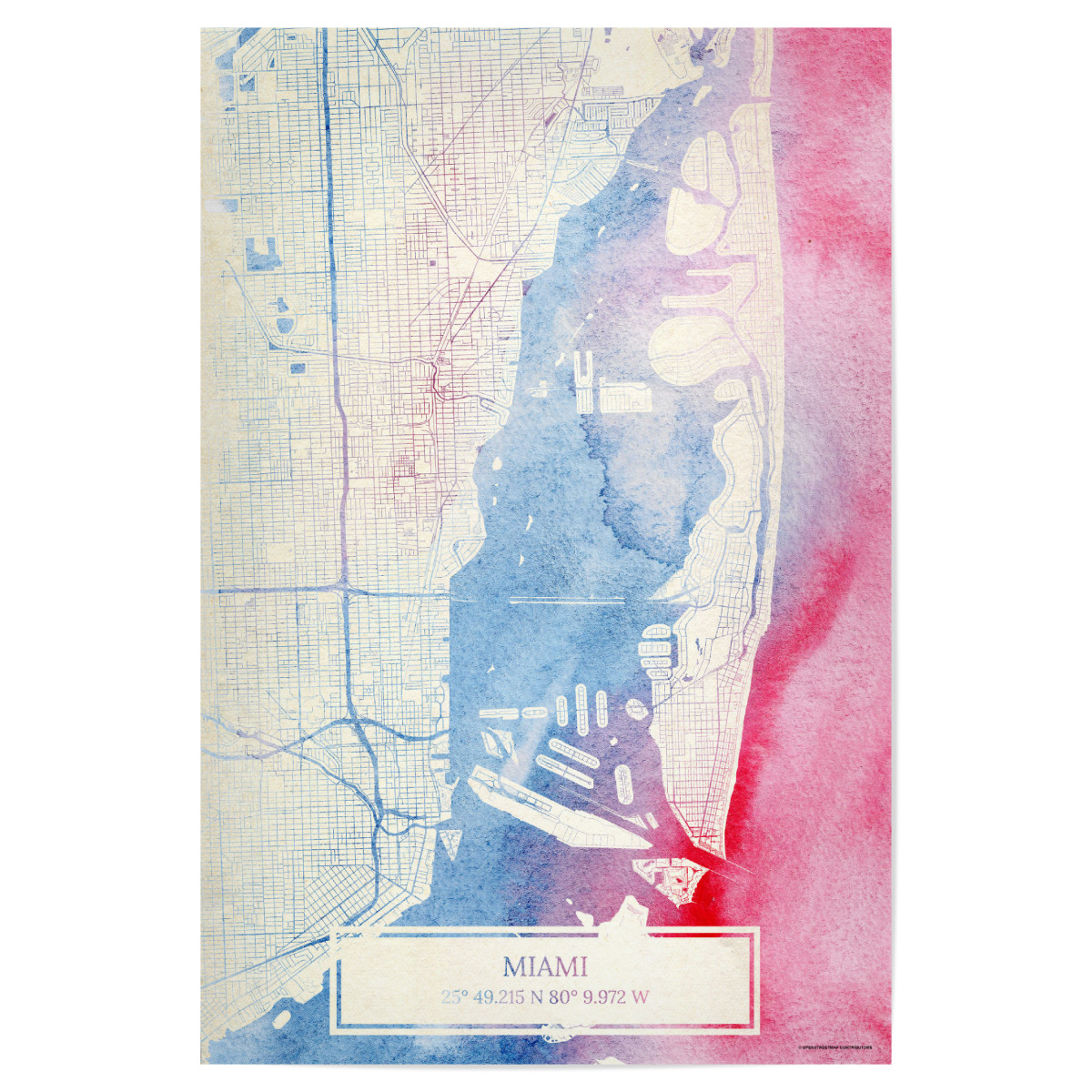 Purchase The Miami Usa Map Rose And Serenity Ii As A Poster At Artboxone
