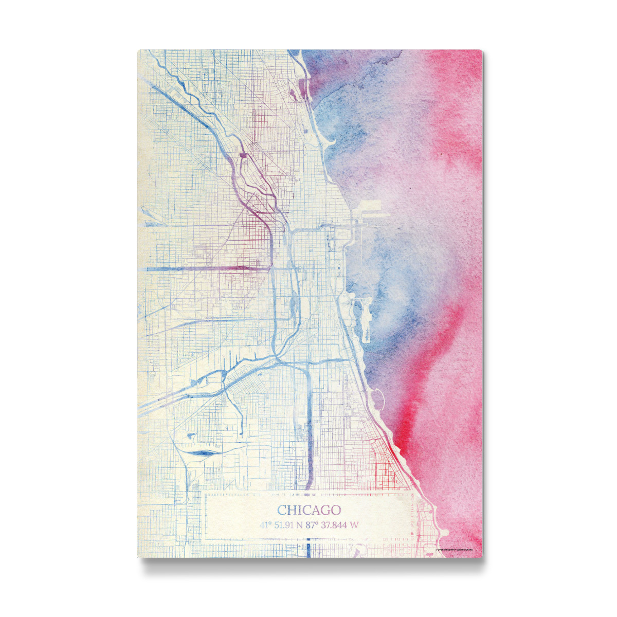 Chicago USA Map Rose And Serenity II als Galerie-Print bei ...