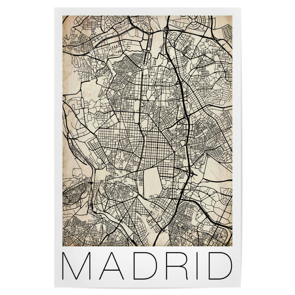 Retro City Map Madrid als Poster bei artboxONE kaufen on