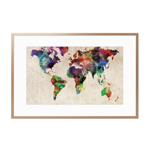 World Map Urban Watercolor Gerahmt