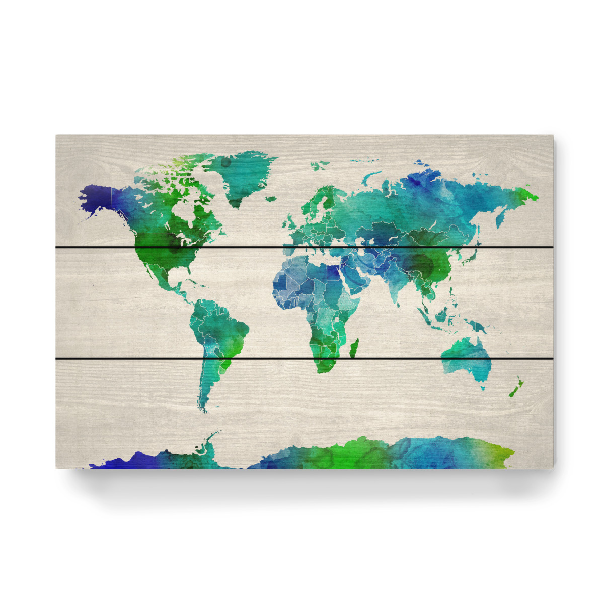 Watercolor Map of the World als Holzbild bei artboxONE kaufen