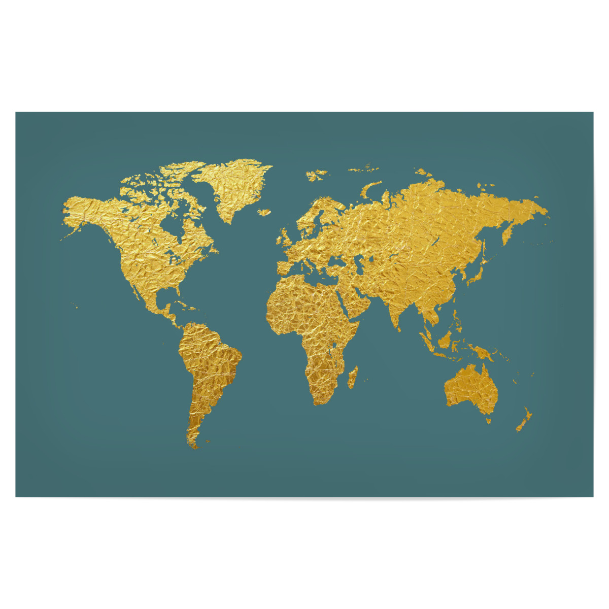 Purchase the world map gold on teal as a poster at artboxone image gumiabroncs Choice Image