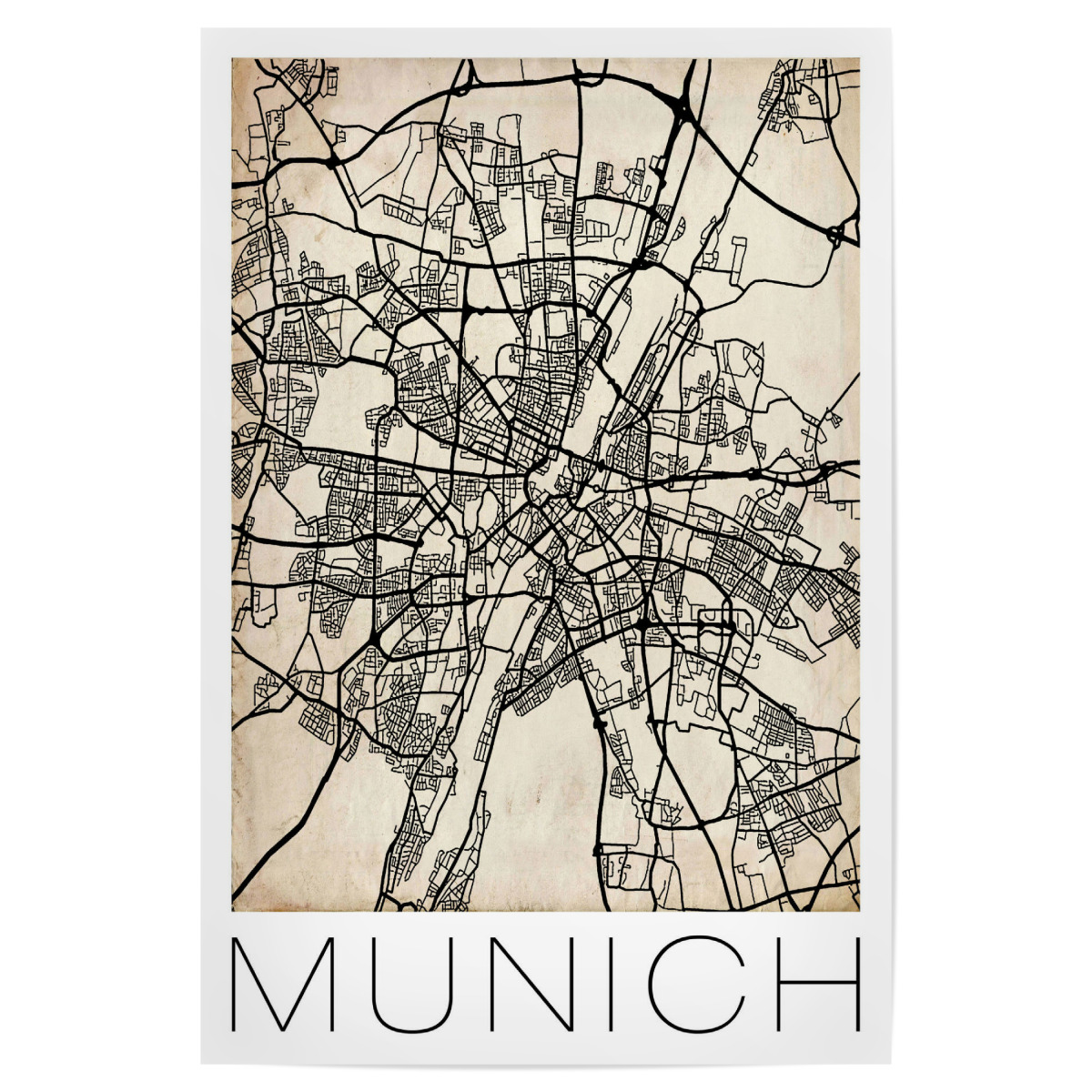 Retro City Map Munich als Poster bei artboxONE kaufen
