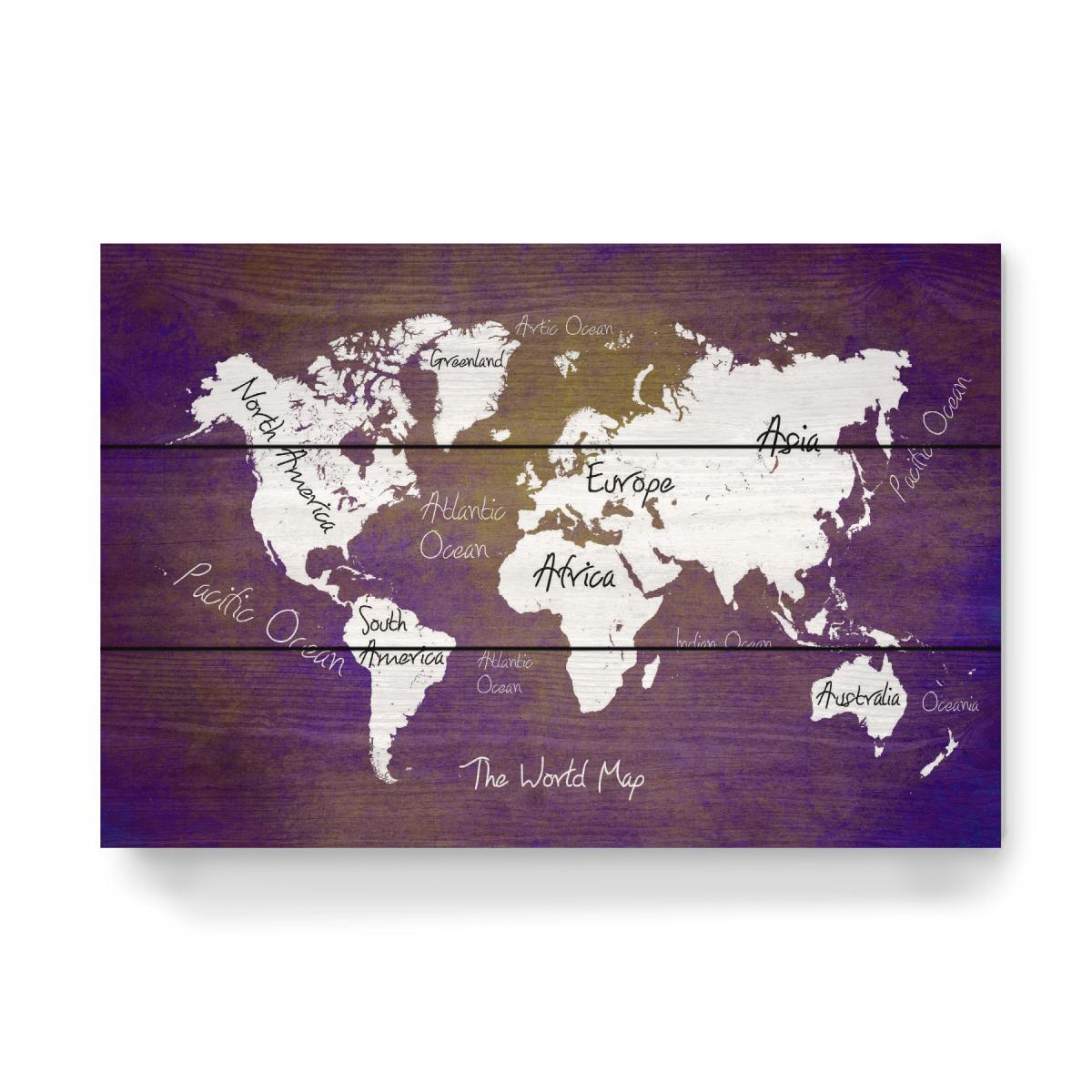 world map 24 purple text als Holzbild bei artboxONE kaufen