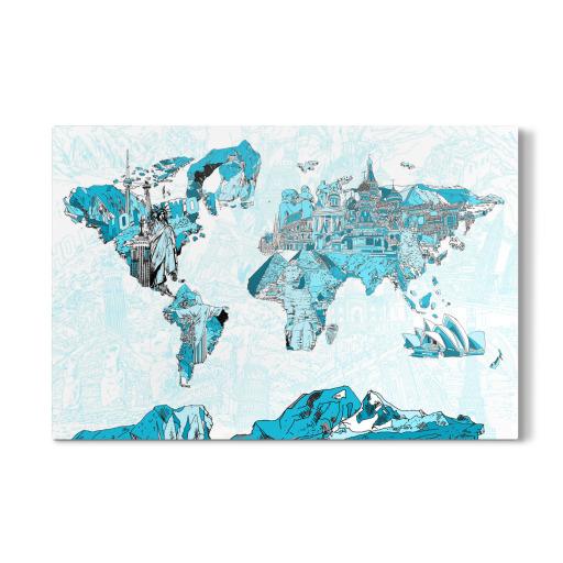 World map landmarks collage 6 als Galerie-Print bei ...