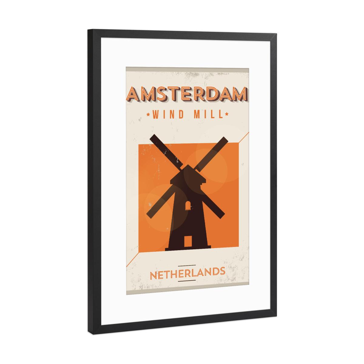 Vintage Amsterdam City Poster als Gerahmt bei artboxONE kaufen