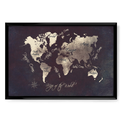world map silver Poster