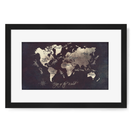 world map silver Gerahmt
