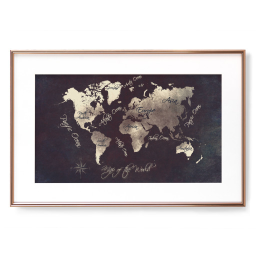 world map silver Gerahmt