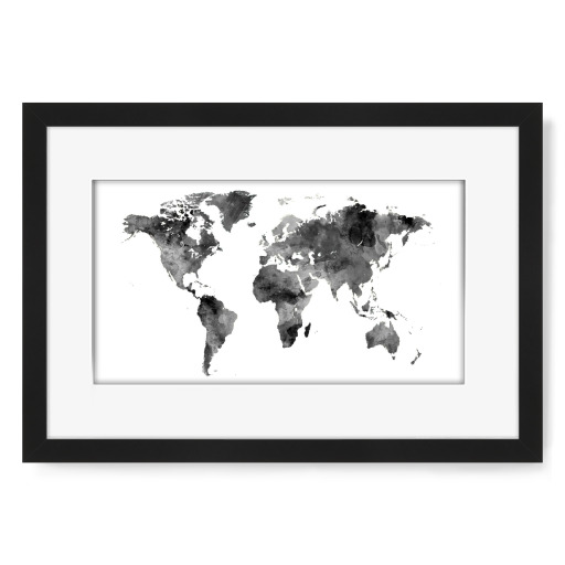 Map of the World Map Watercolor Gerahmt