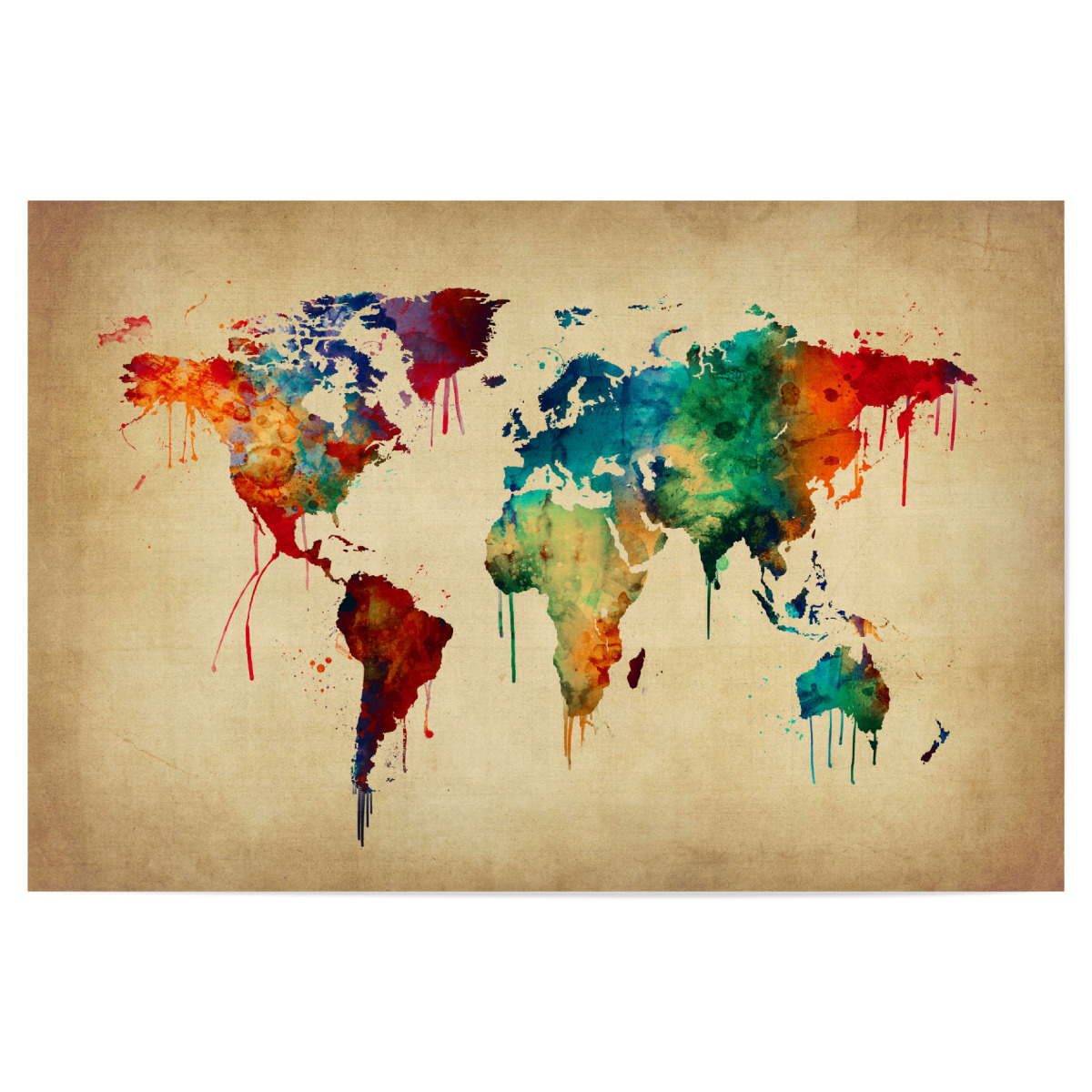 Watercolor Map of the World beige als Poster bei artboxONE ...