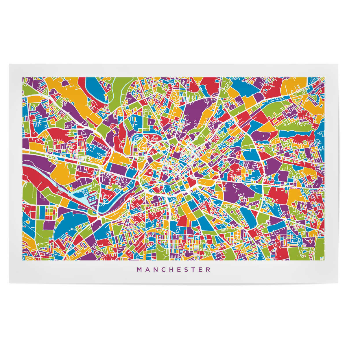Map Of England Poster.Purchase The Manchester England Street Map As A Poster At Artboxone