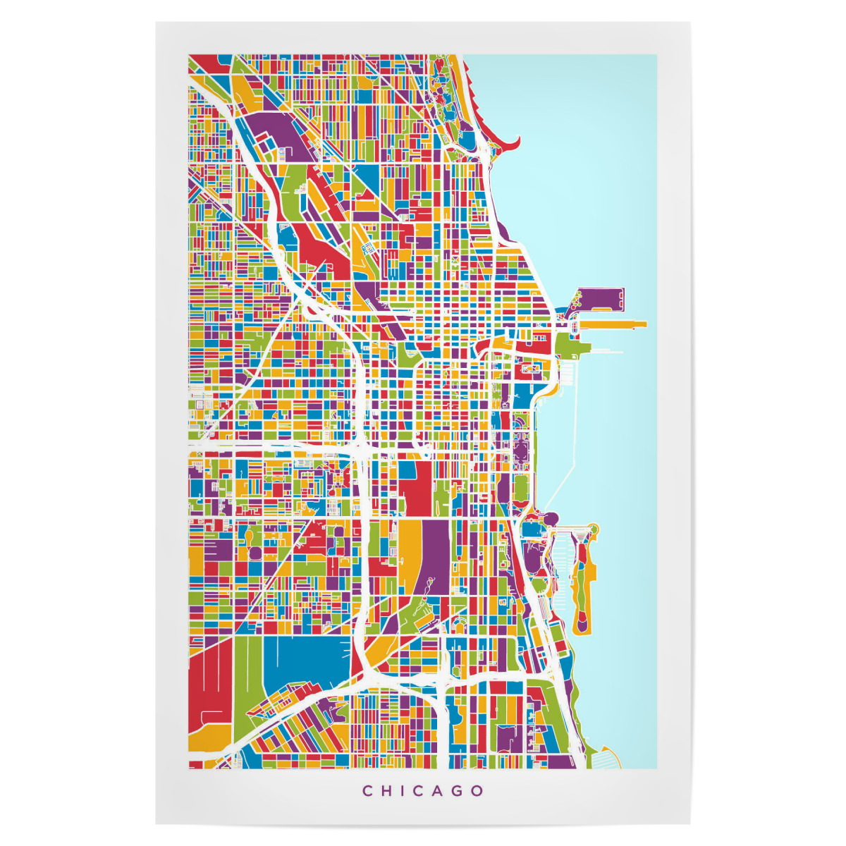 Purchase the Chicago City Street Map as a Poster at artboxONE on