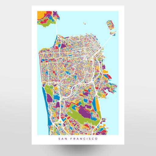 San Francisco City Street Map als Postkarten bei artboxONE kaufen