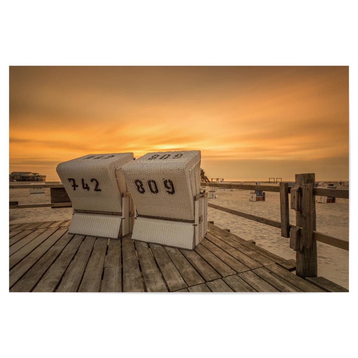 Strandkorb sonnenuntergang  Strandkorb Nordsee Sonnenuntergang als Poster bei artboxONE kaufen