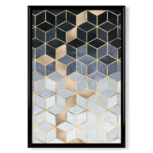 Soft Blue Gradient Cubes Poster