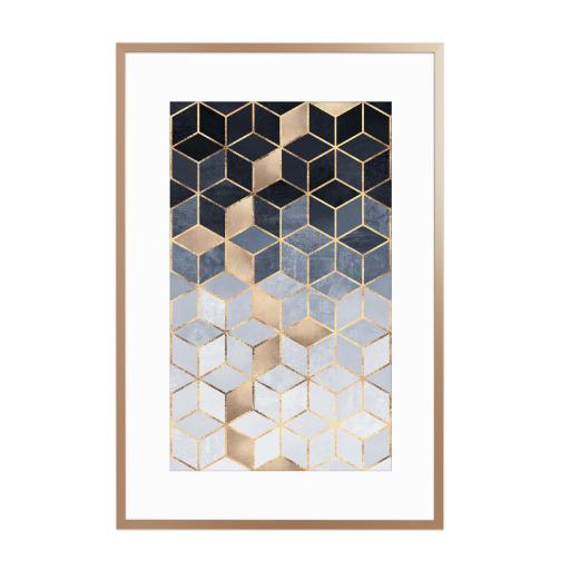 Soft Blue Gradient Cubes Gerahmt