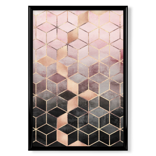 Pink Grey Gradient Cubes Poster