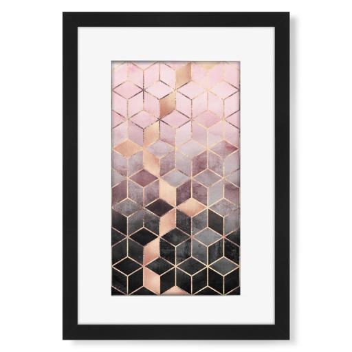 Pink Grey Gradient Cubes Gerahmt