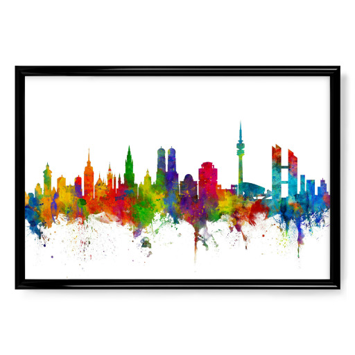 m nchen germany skyline als poster bei artboxone kaufen. Black Bedroom Furniture Sets. Home Design Ideas