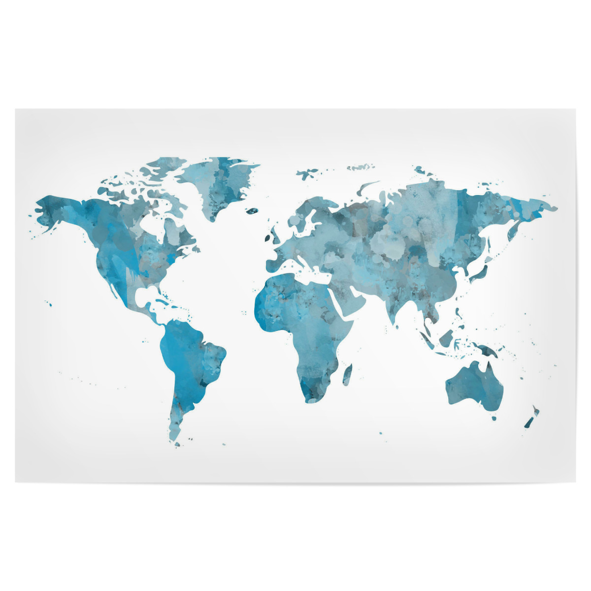 World Map Poster Watercolor Blue als Poster bei artboxONE kaufen