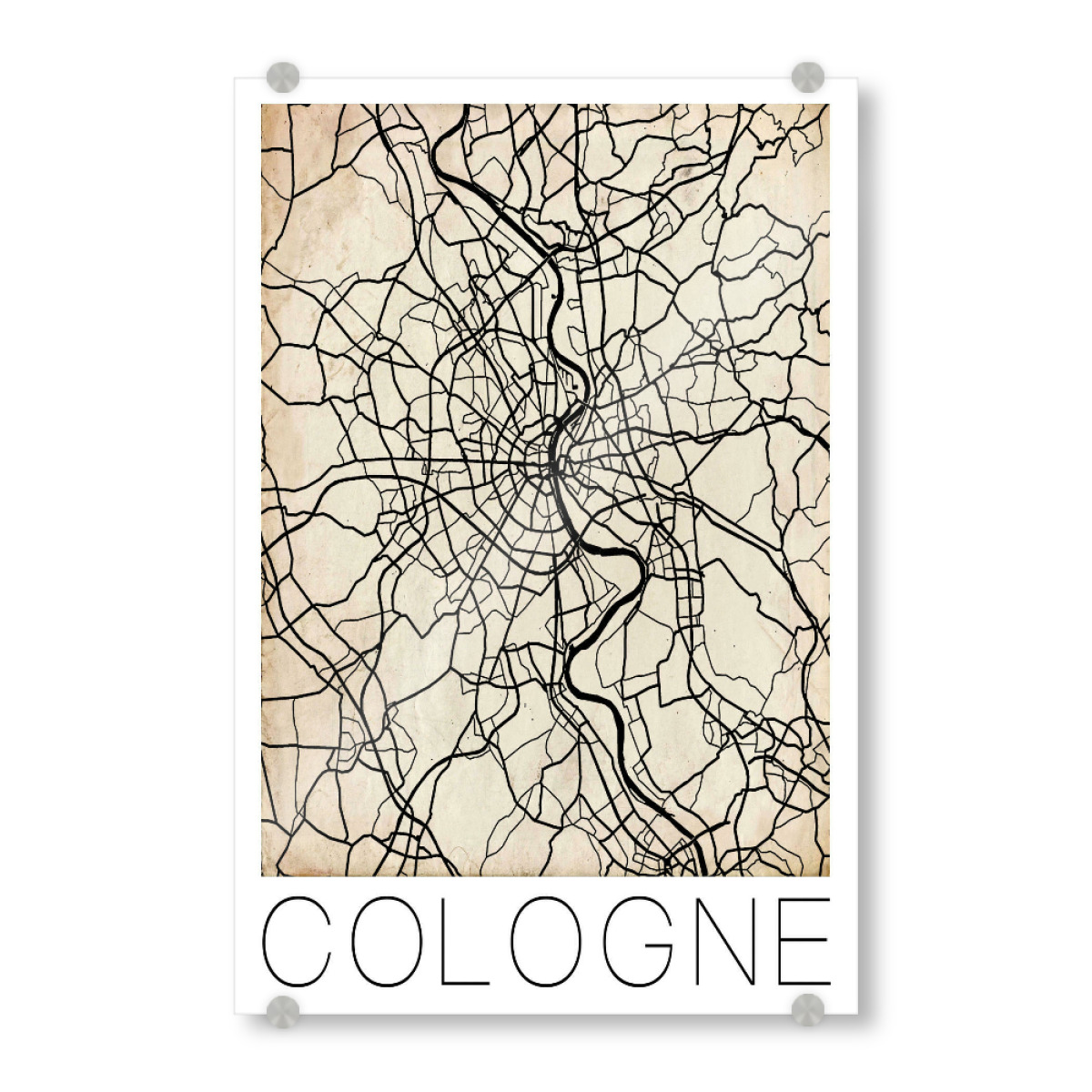 Cologne Germany Map Vintage Poster Print als bei artboxONE ...