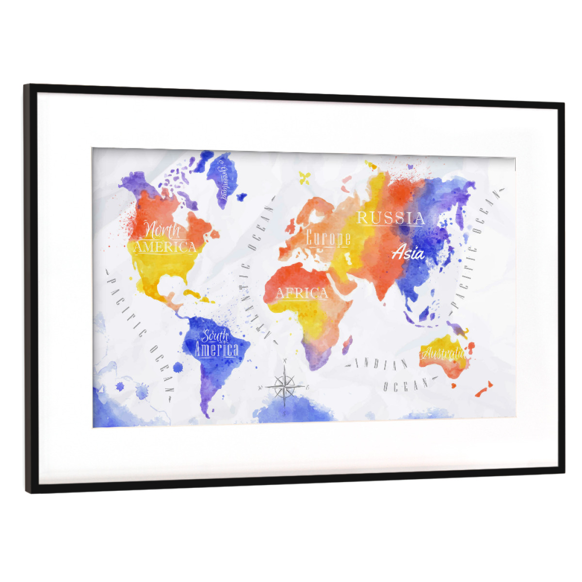Aquarell Weltkarte rot lila als Gerahmt bei artboxONE kaufen