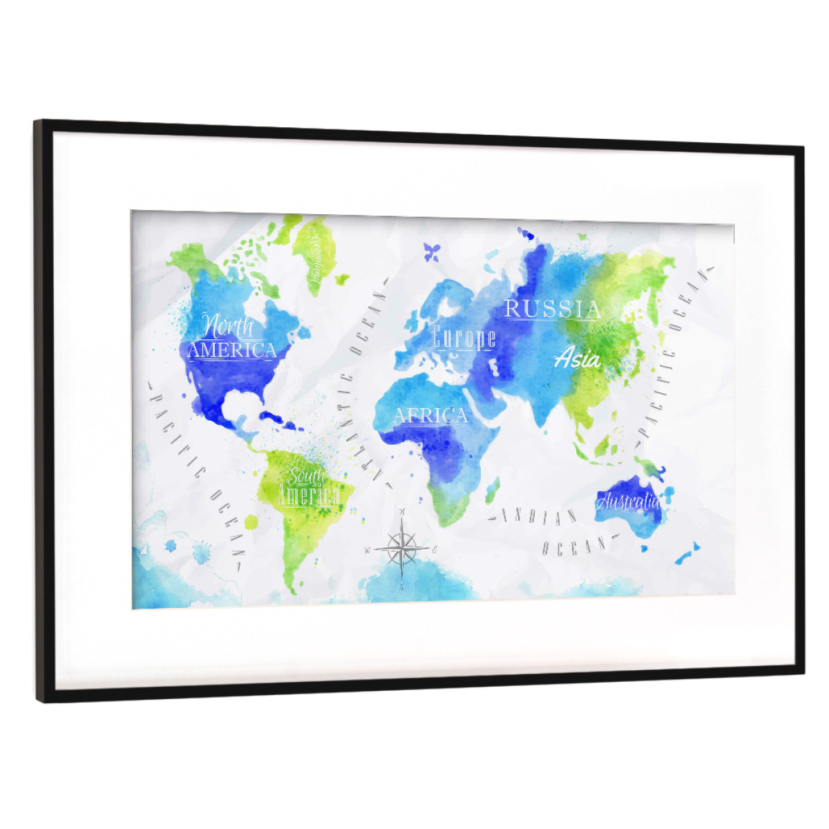 Aquarell Weltkarte Grün Blau Als Gerahmt Bei Artboxone Kaufen