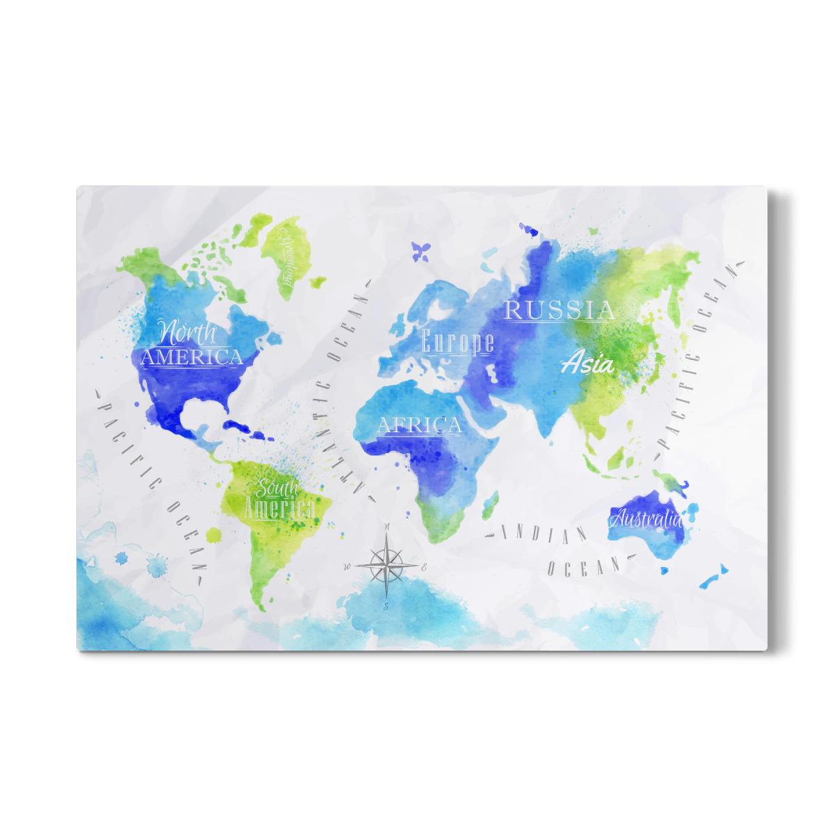 Purchase The Aquarell Weltkarte Grun Blau As A Gallery Print At